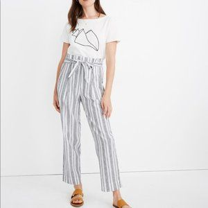 Madewell Paperbag Pants Dark Baltic Stripe 10 NWT